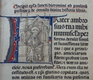 The opening initial of the 1477 Biblia Latina