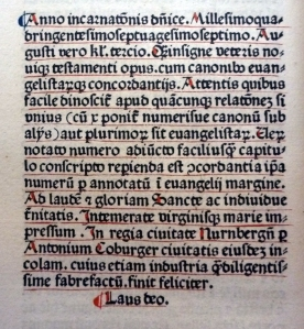 Colophon to the 1477 Biblia Latina